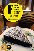 Commended at the Free From Food Awards 2015, this deliciously damp gluten free, dairy free chocolate cake is made with organic ingredients, including Fairtrade cocoa powder, extra-virgin olive oil, ground almonds and Madagascar vanilla. Keeps well and improves with age. All ingredients gluten-free and dairy-free