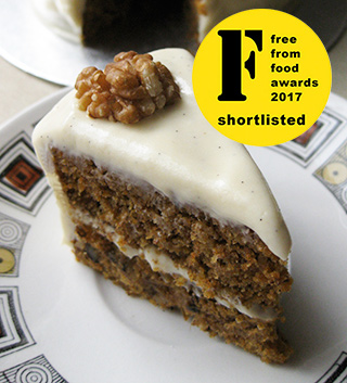 Shortlisted for the Free From Food Awards 2017. Gluten-free vegan carrot cake. Made with egg free, gluten free, dairy free ingredients. Delivery in London. Click on the picture to find out about my other vegan cakes