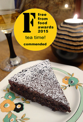 This deliciously damp gluten free, dairy free chocolate cake was commended in the Free From Food Awards 2015. Made made with organic ingredients, including Fairtrade cocoa powder, extra-virgin olive oil, ground almonds and Madagascar vanilla, it keeps well and improves with age. All ingredients gluten-free and dairy-free