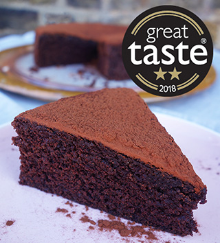 Awarded 2 stars at the 2018 Great Taste Awards, this gluten-free and dairy-free chocolate cake is deliciously fudgy. All ingredients gluten free and dairy free