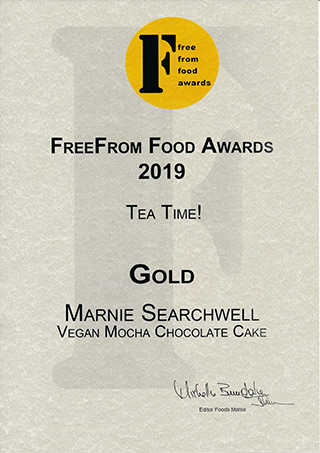 My vegan, gluten-free Mocha Chocolate Cake was awarded Gold at the 2019 FreeFrom Food Awards