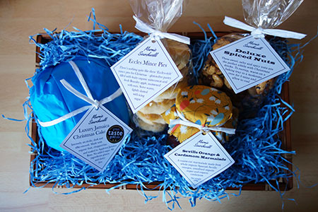 Christmas Hamper: 4-inch gluten free, dairy free Luxury Jamaica Xmas Cake, Pack of 6 gluten free Mince Pies, 250g Spiced Mixed Nuts, Jar of Seville Orange & Cardamom Marmalade. All ingredients gluten free & dairy free